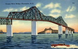 1939 Postcard of the Cooper River Bridge featured on American-Journal.org